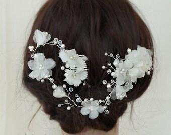 Silk Flowers Bridal Hair Vine, Wedding Hair Accessories, Crystal Ivory White Pearls Gold Silver Bridal Hair Comb Tiara Hair Crown, Style 016