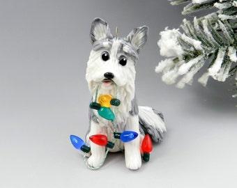 Siberian Husky Gray Christmas Ornament Figurine Porcelain