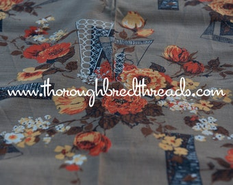 "Mid Century Floral  - Vintage Fabric Geometric 50s 60s New Old Stock 35"" wide Light Barkcloth"