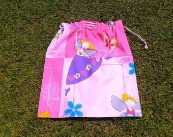 Girls large library bag or toy bag, fairy, pink cotton drawstring bag