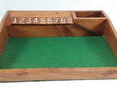 Vintage hand made geming board hand carved numbers green felp