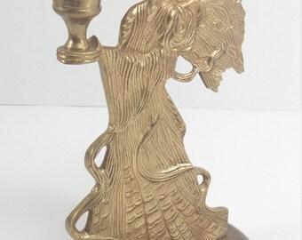 Vintage golden color candle holder angel wing angel candleholder golden angel