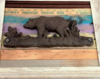 Hand made bear wall art in a frame wood and metal