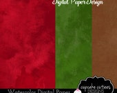 Water Color Digital Papers- Holiday Christmas Single Digital Paper Set- Instant Download