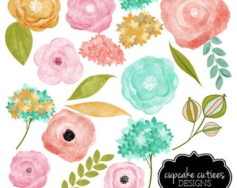 Water Color Flowers- Vintage Blue Pink Gold -Digital Clipart Elements Commercial use Instant Download