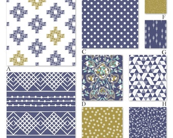 Blue and Gold Aztec Tribal Baby Custom Crib Baby Bedding - Aztec in Indigo