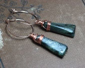 Kyanite Earrings Teal Forest Dark Green Earrings Rose Gold Hoops Copper Wire Wrapped Gemstone Earrings Rustic Jewelry