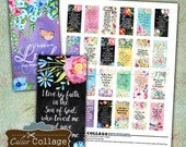 Bible Verses Printable Download Digital Collage Sheet 1x2 Domino Size Images for Pendants, Magnets, Decoupage, Junk Journals, CalicoCollage