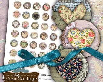 Primitive Hearts, Collage Sheet, Digital Collage, Circle Collage Sheet, 1 inch Circles, Collage Sheets, Digital Sheet, Printable Collage
