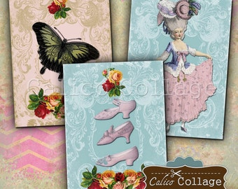 Victorian Paris, Collage Sheet, Marie Antoinette, Digital Images, Scrapbook Tags, Junk Journals, Shabby Chic, Decoupage Paper, Digital Tags