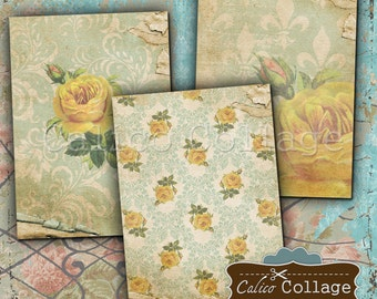 Yellow Roses Digital Collage Sheet Printable Paper for Journalling, Scrapbooking, Junk Journals, Mini Cards, Cark Making, Decoupage Paper