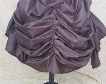Dark Brown Knee Length Tie Bustle Skirt-One Size Fits All