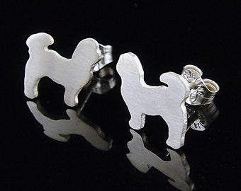Shih Tzu Sterling Silhouette Earrings V2