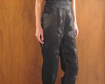 black SILK JACQUARD high waisted pants