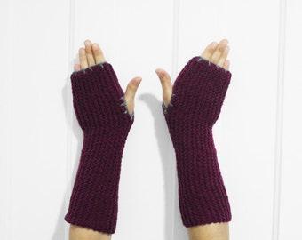 SALE Long Fingerless Gloves / Armwarmers [Plum Purple & Gray]