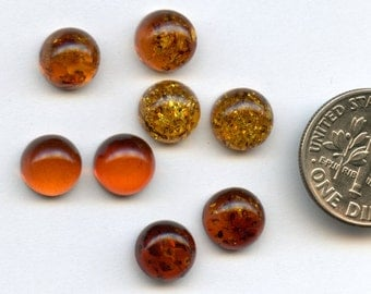 AMBER Natural Baltic Amber 8mm Round Cabochons Sopot Poland ONE PAIR