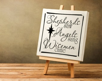 """Christmas Decorations """"Shepherds Saw Angels Sang Wise Men Came"""" Christmas Decal,  Canvas or Tile Decal, Holiday Decoration Sign Vinyl Decal"""