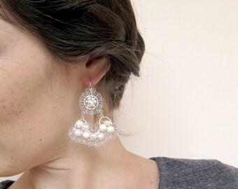Mexican wedding Earrings, Chandelier Bridal Earrings