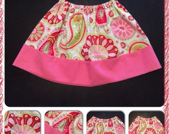 Pink green red paisley Twirl Skirt, Size 4T