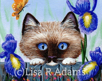 Ragdoll Cat Giclee Print of Original Painting size 4x4 Creationarts