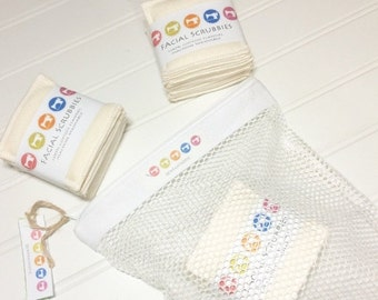 SUMMER SALE - Facial scrubbers reusable cotton face cleaners 3 ply washable cloth wipes