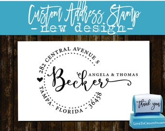 Return Address Stamp | Custom Address Stamp | Custom Rubber Stamp | Calligraphy Address Stamp | Personalized SELF INKING Stamp - (1162D)