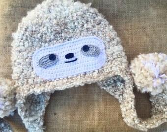 Crochet hat, Sloth hat - Crochet sloth hat - baby sloth - Pom pom hat - crochet animal hat, earflap hat