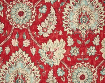 """Red Curtain Panels, Hipster Floral Drapes, Bohemian Floral Drapes, Modern Boho Window Treatments, Rod-Pocket Curtains, One Pair 50""""W"""