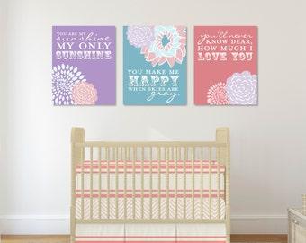You Are My Sunshine Wall Art, Baby Girl, Purple, Pink, Teal Nursery Decor, 3 Print Set // Choose Art Print or Canvas // N-G03-3PS AA1 03S
