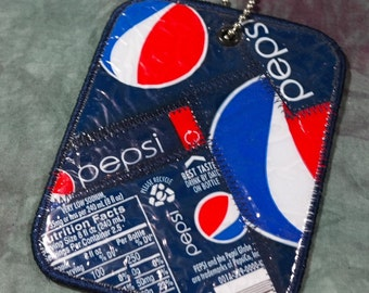 Luggage Tag from Recycled Pepsi Bottle Labels