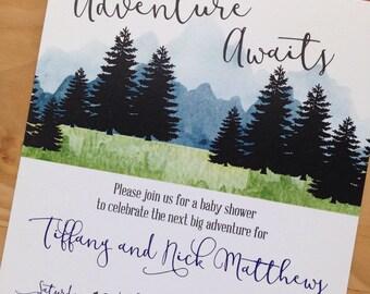 Adventure Awaits Baby Shower Invitation | Adventure Baby Shower Invitation | Wilderness Baby Shower Invitation | Digital Download