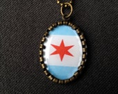 Chicago Flag necklace Chicago Star necklace