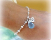 2-DAY 20% OFF SALE Something Blue Bracelet with Bride & Groom initials, Couples initials,Personalized pearl bracelet, Wedding jewelry for th