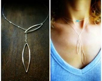 Minimal Sterling silver Y necklace, Lariat necklace, stylized leaf, modern, minimalist, layering necklace, otis b, geometric, briguysgirls