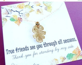 2-DAY 20% OFF SALE Friendship necklace, Gold dipped leaf necklace, best friend necklace, bff necklace, oak leaf, fall leaves, real leaf jewe