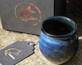 Blue Glass Vessel - Welsh Lampwork - Glass Decor - Whimsical vessel - Handmade Glass Tumbler