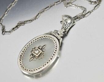 Rock Crystal Necklace, 14K Gold Art Deco Necklace, Camphor Glass Pendant Necklace, Diamond Necklace, 1920s Deco Jewelry, Antique Jewelry