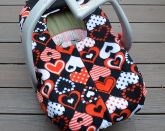 Hearts Car Seat Cover in Red, Black and White, Winter Car Seat Blanket with Zipper, Canopy Alternative