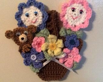 Crochet Flower Basket Fridgie
