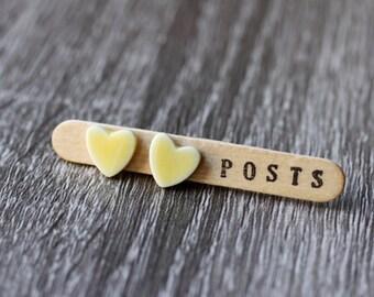 yellow heart post earrings