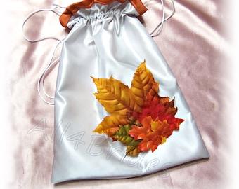 Fall leaves wedding bridal drawstring bag, burnt orange wedding money dance bag.