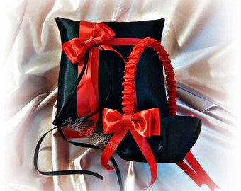 Black and red weddings ring bearer pillow and flower girl basket, satin ring cushion and basket set