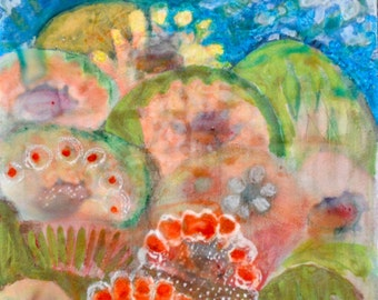 OOAK Flower Sunrise Acrylic Painting on Aquabord