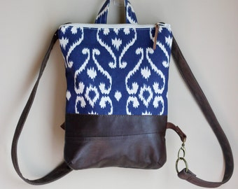 Fabric & Leather Backpack Small Day Pack Ikat Blue Brown Cream