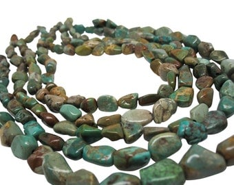Turquoise Nugget, Turquoise Beads, Green Blue Turquoise, December Birthstone, SKU 4513A