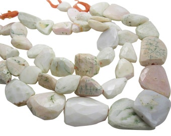 Pink Opal Beads, Pink Peruvian Opal, Pink Opal Nuggets, 15mm x 22mm, Faceted Nuggets, SKU 4004A
