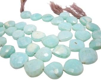 Peruvian Blue Opal Beads, Wholesale Peruvian Opal, Faceted Heart, Faceted Briolette, SKU 4154A