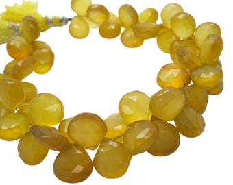 Yellow Chalcedony Briolette Beads, Yellow Chalcedony, Butterscotch Yellow, 10-12mm, Heart Briolettes, SKU 5057