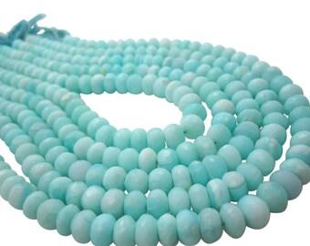 Blue Peruvian Opal Beads, Peruvian Opal Beads, Blue Opal Rondelles, Blue Opal Beads, Faceted Rondelles, SKU 5091