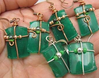 Wholesale Earrings.Emerald Green Earrings. Recycled Plastic Earrings.Set of 5.